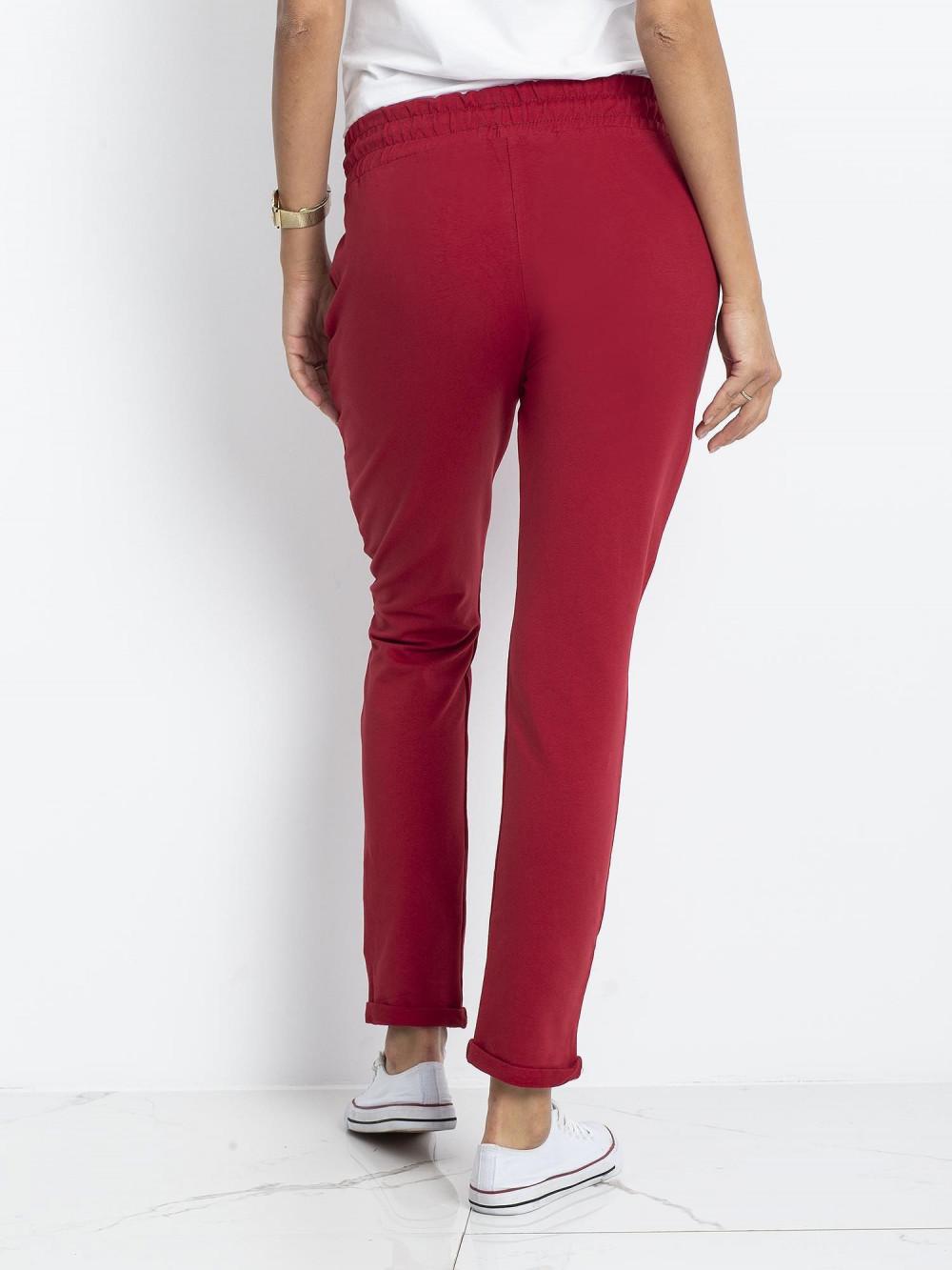 Bordowe spodnie dresowe z kieszeniami Sage 4