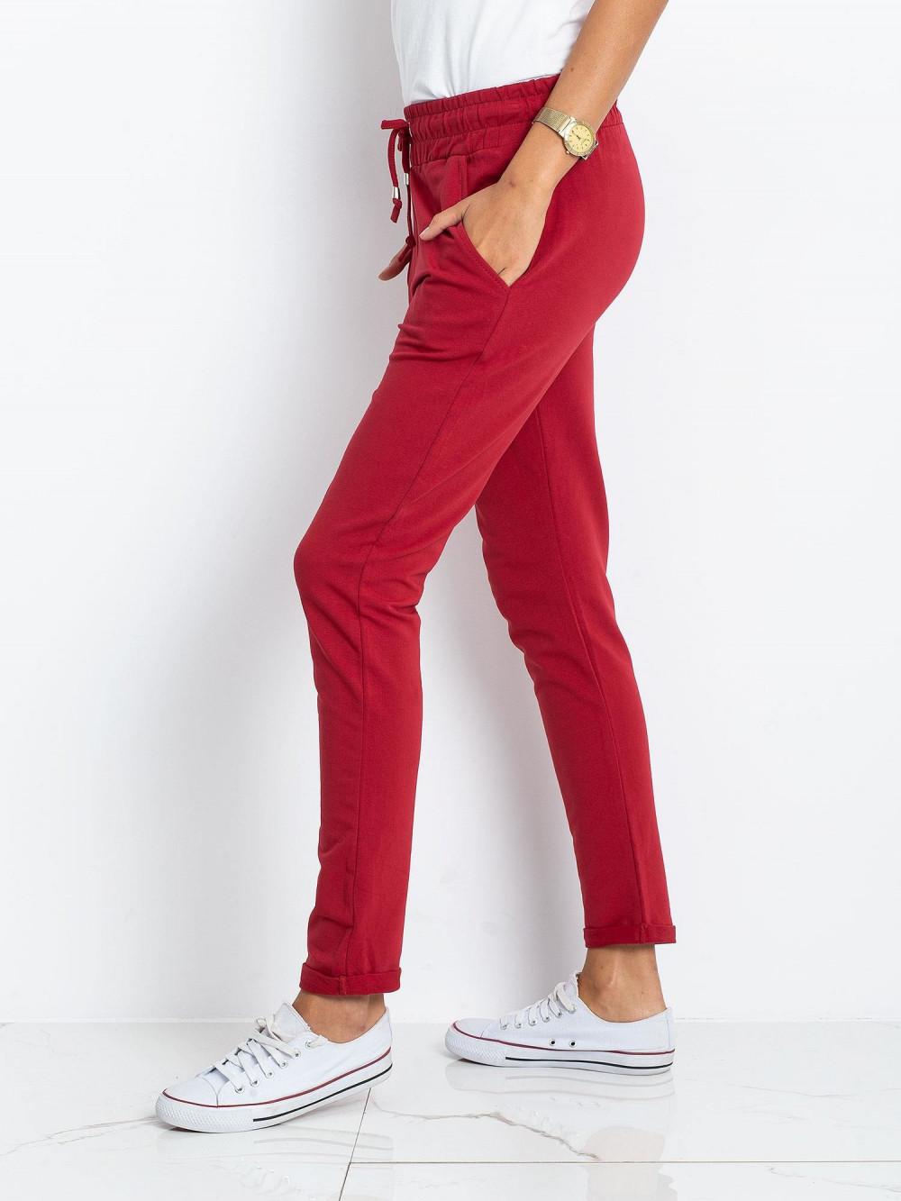 Bordowe spodnie dresowe z kieszeniami Sage 3