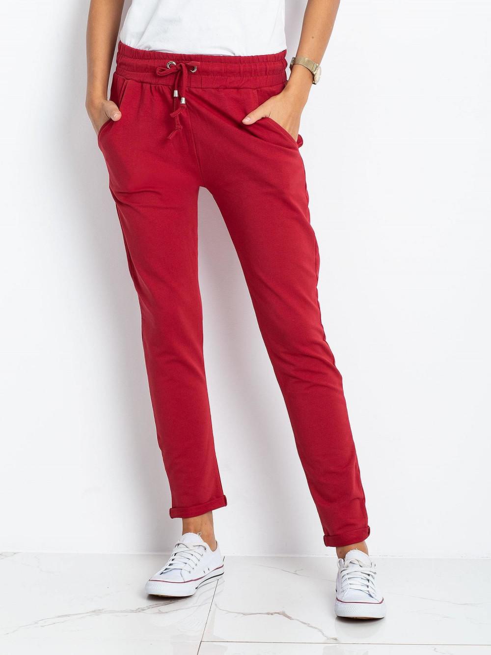 Bordowe spodnie dresowe z kieszeniami Sage 2