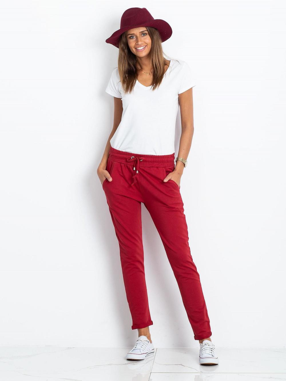 Bordowe spodnie dresowe z kieszeniami Sage 1