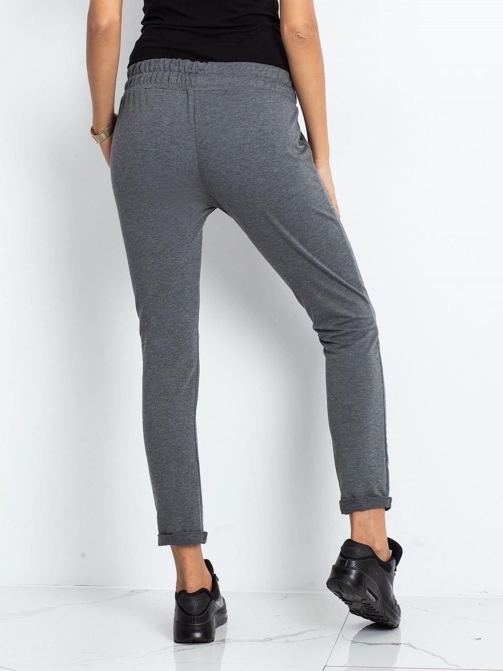 Ciemnoszare spodnie dresowe z kieszeniami Sage 4