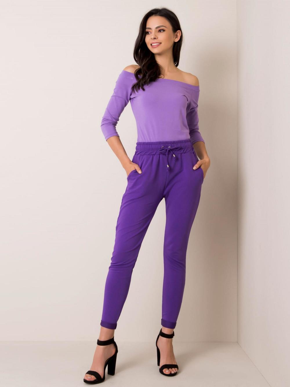 Fioletowe spodnie dresowe z kieszeniami Sage 1