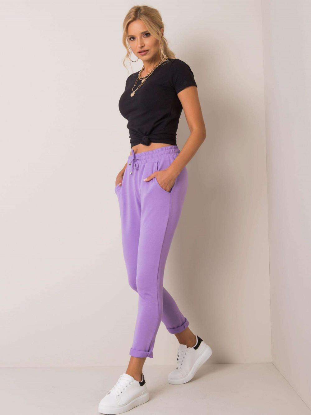 Jasnofioletowe spodnie dresowe z kieszeniami Sage 1