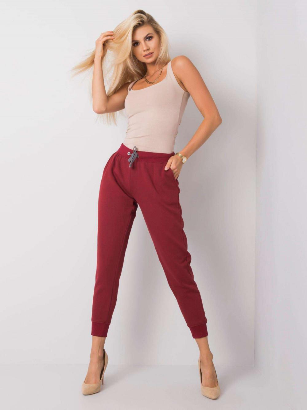 Ekologiczne bordowe spodnie dresowe z kieszeniami Peans 1