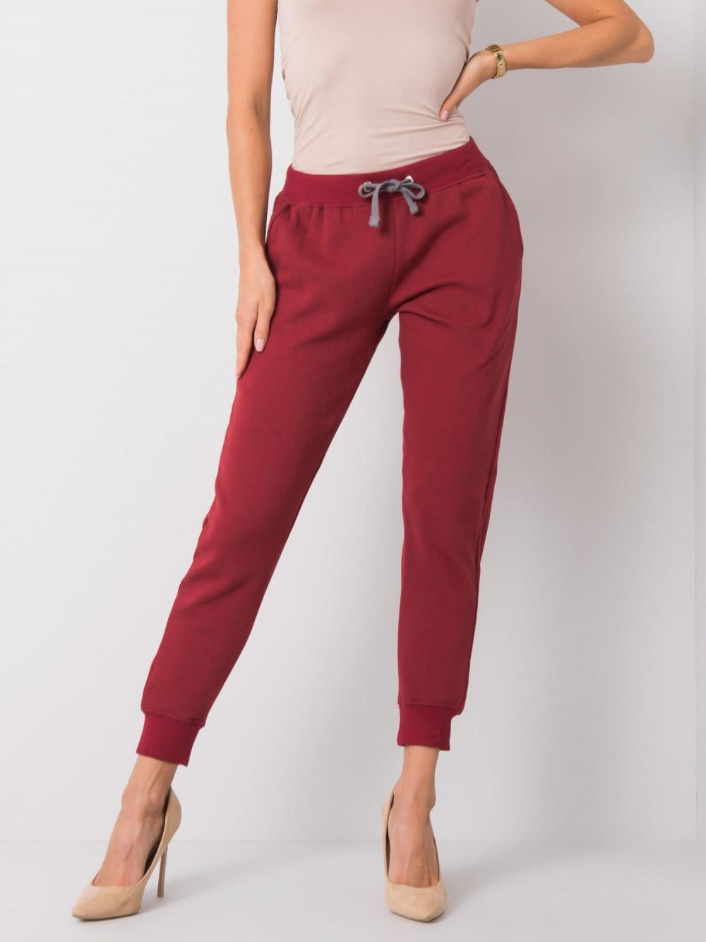 Ekologiczne bordowe spodnie dresowe z kieszeniami Peans 2