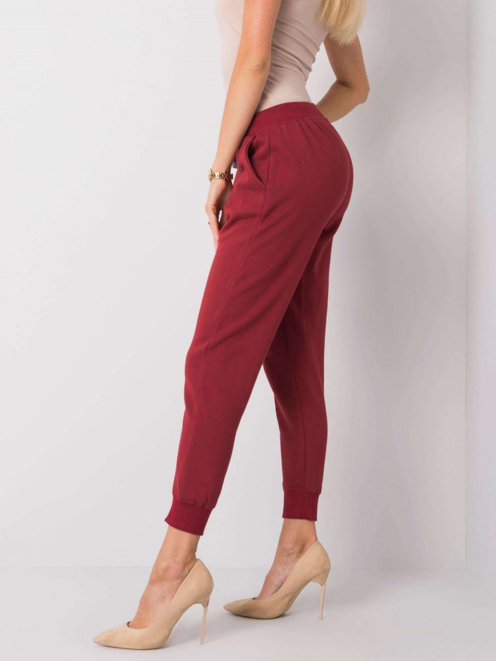 Ekologiczne bordowe spodnie dresowe z kieszeniami Peans 3