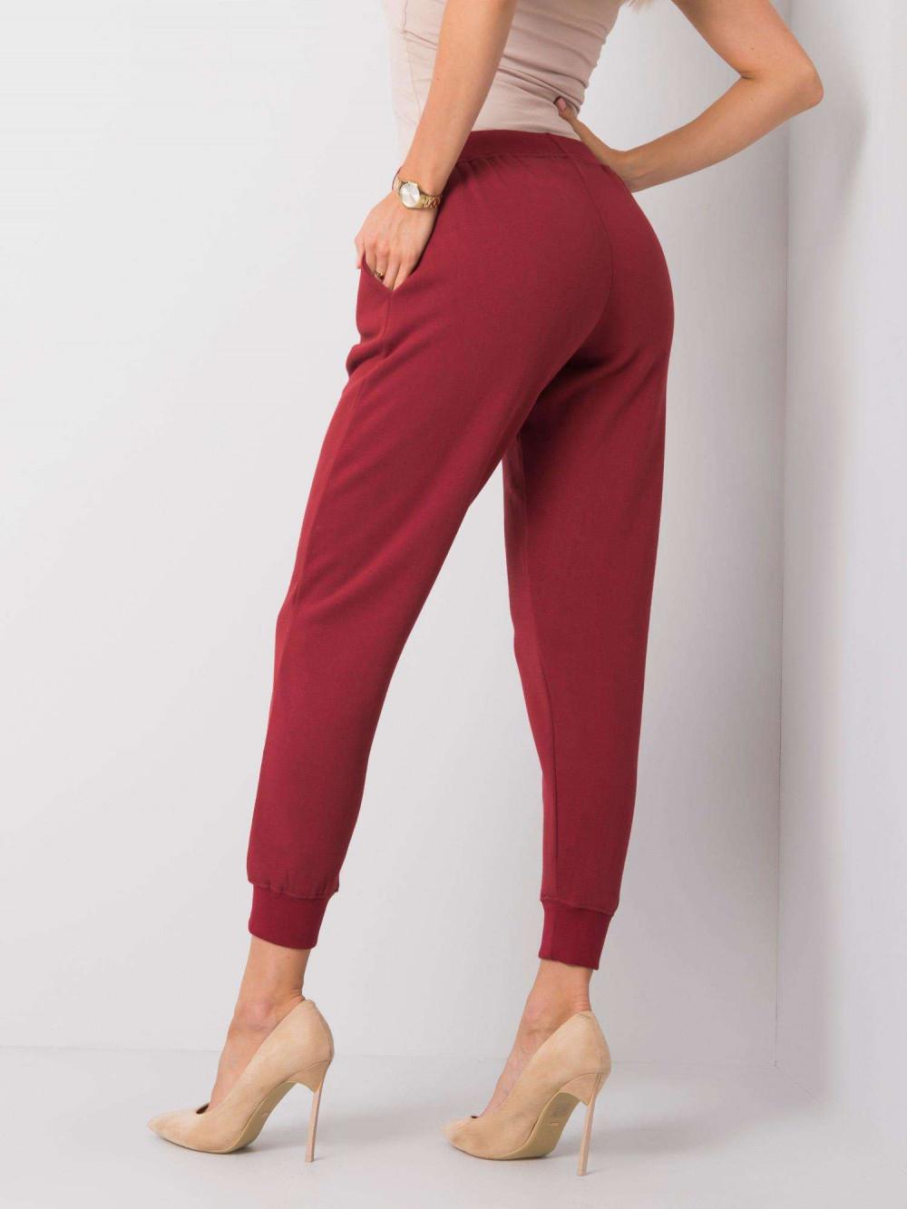 Ekologiczne bordowe spodnie dresowe z kieszeniami Peans 4