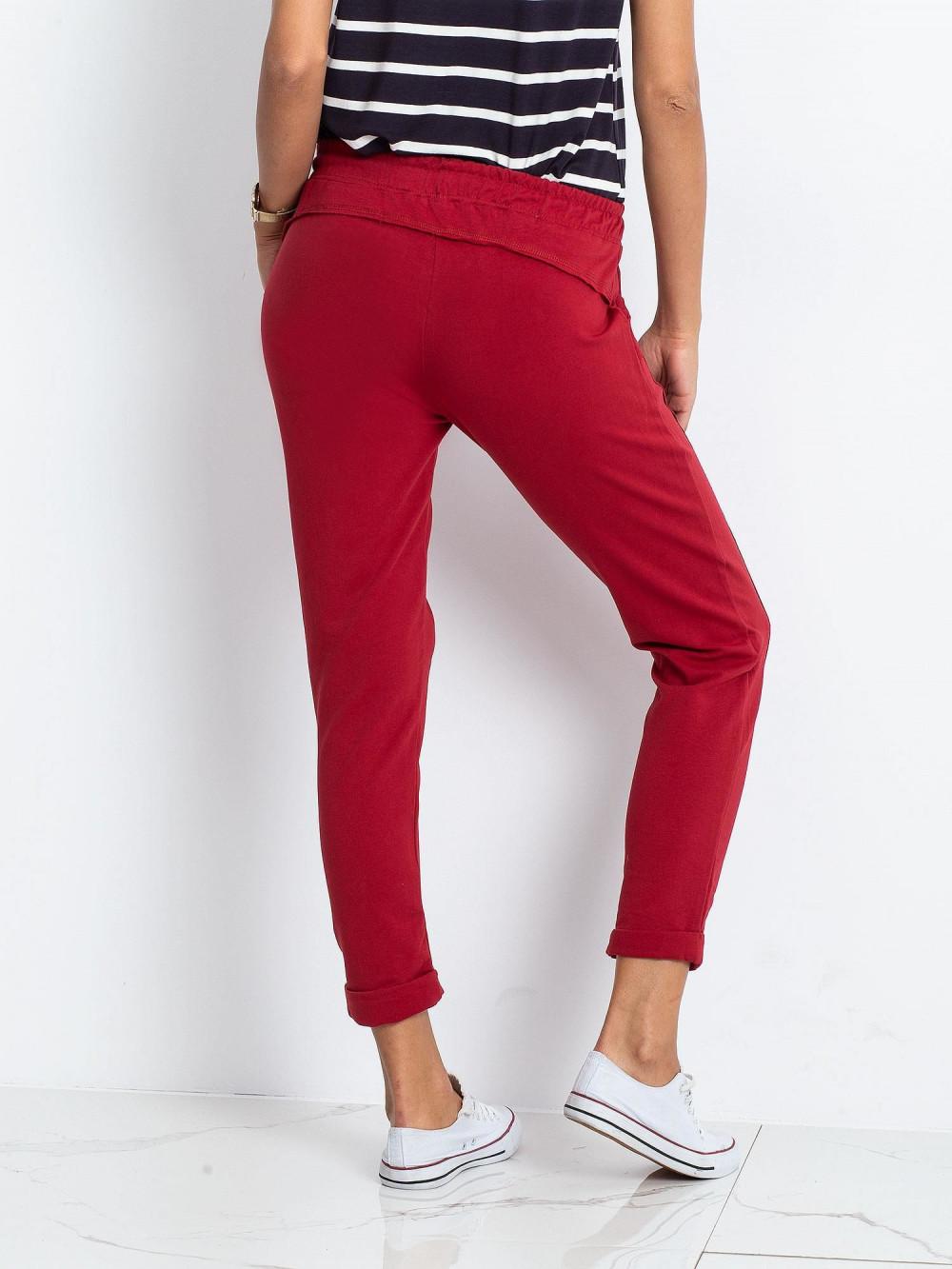 Bordowe spodnie dresowe z kieszeniami Viole 4