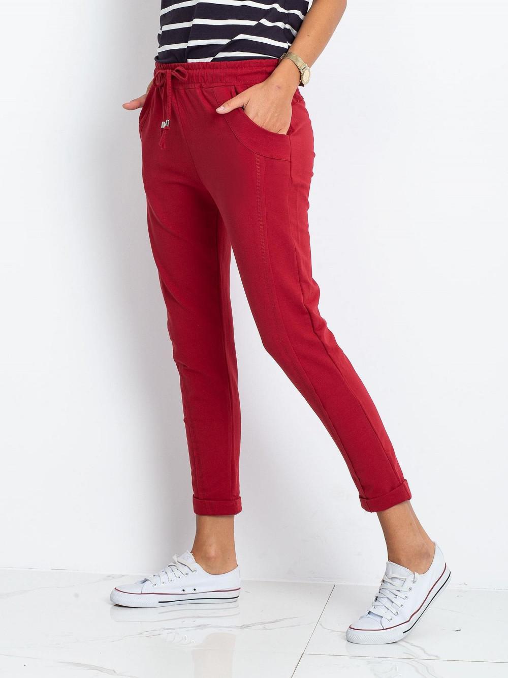Bordowe spodnie dresowe z kieszeniami Viole 2