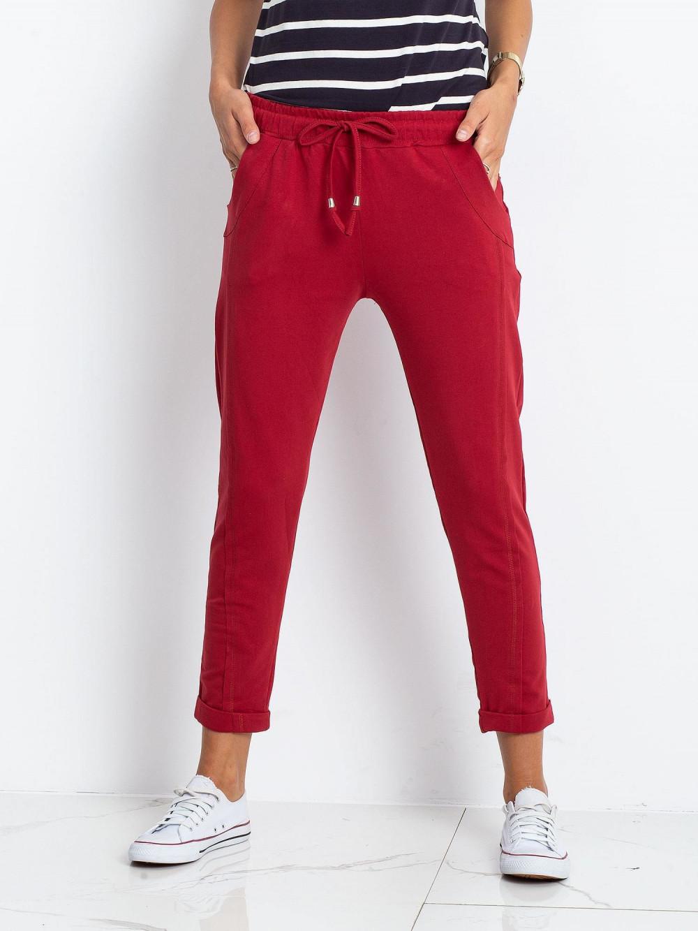 Bordowe spodnie dresowe z kieszeniami Viole 3