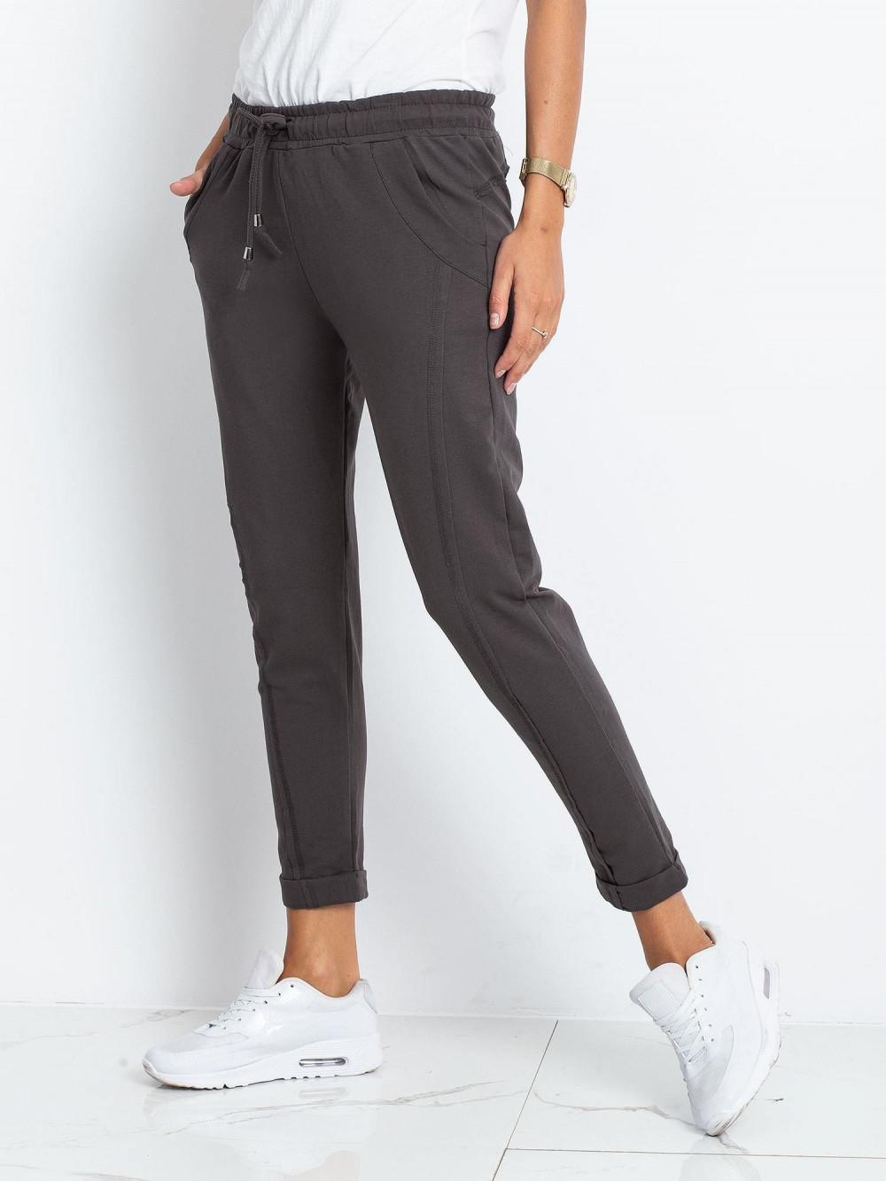 Khaki spodnie dresowe z kieszeniami Viole 2