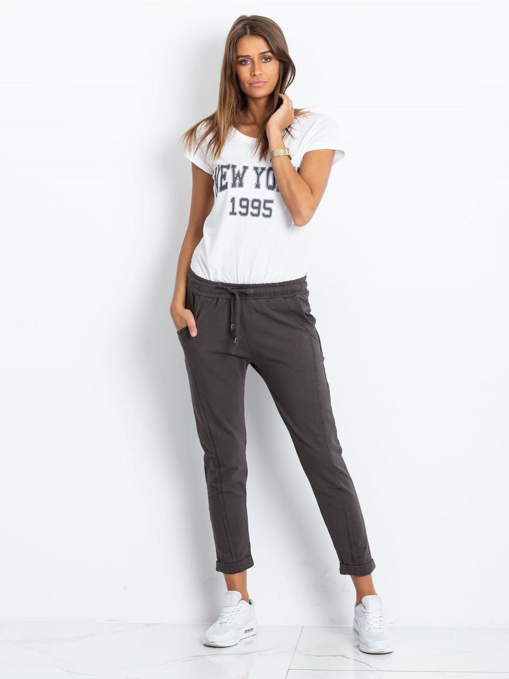 Khaki spodnie dresowe z kieszeniami Viole 1