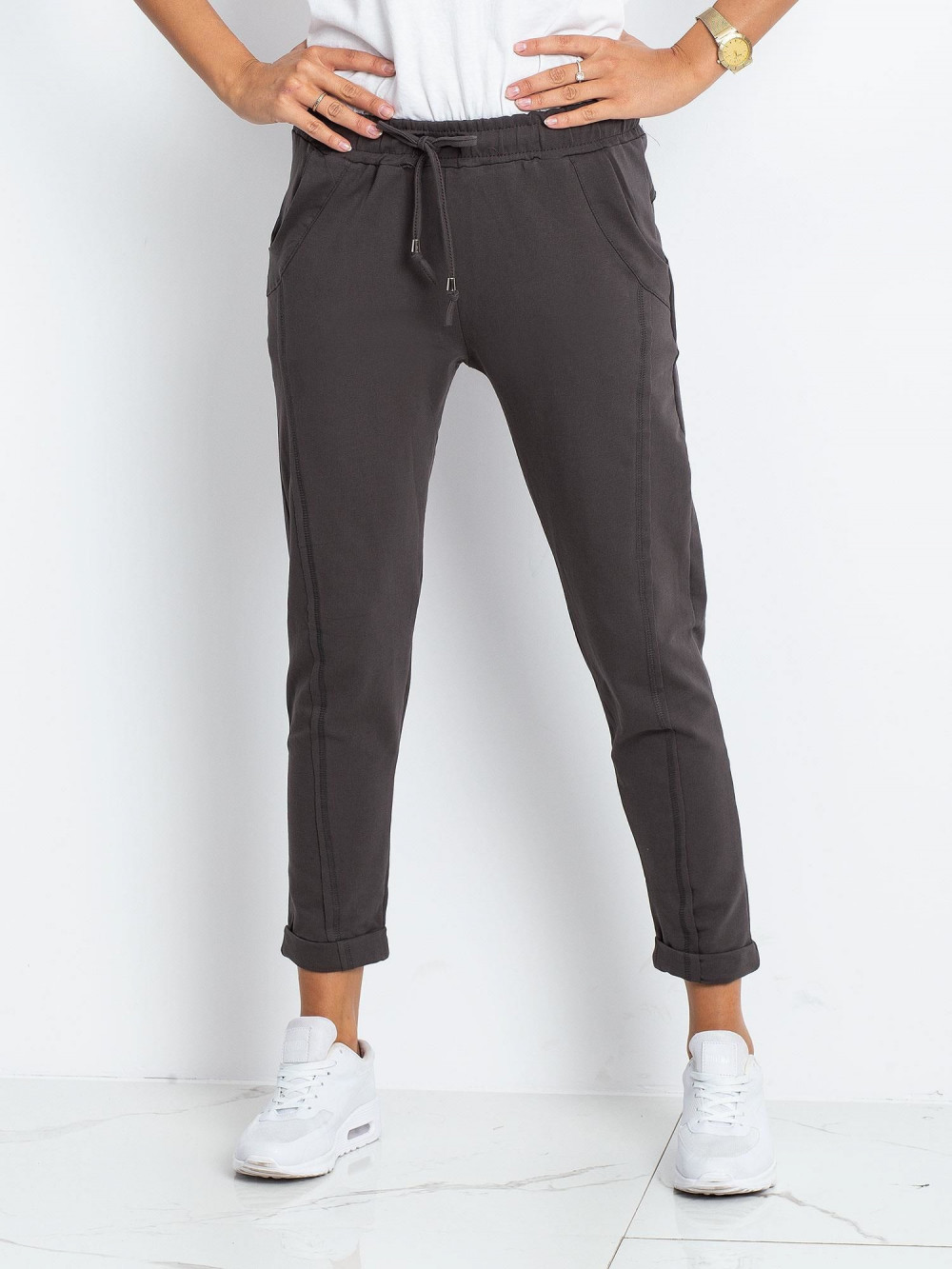 Khaki spodnie dresowe z kieszeniami Viole 3