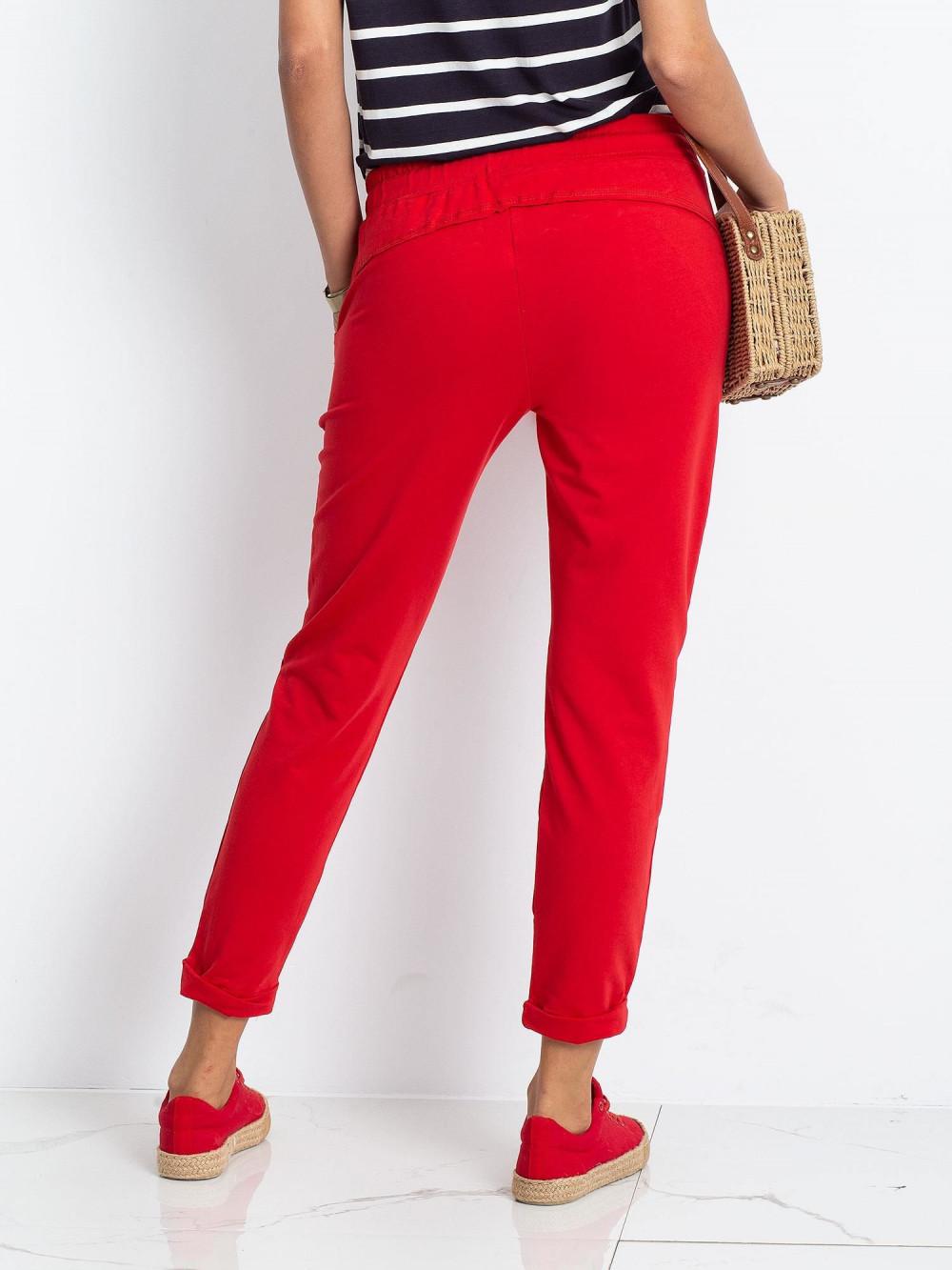 Czerwone spodnie dresowe z kieszeniami Viole 4