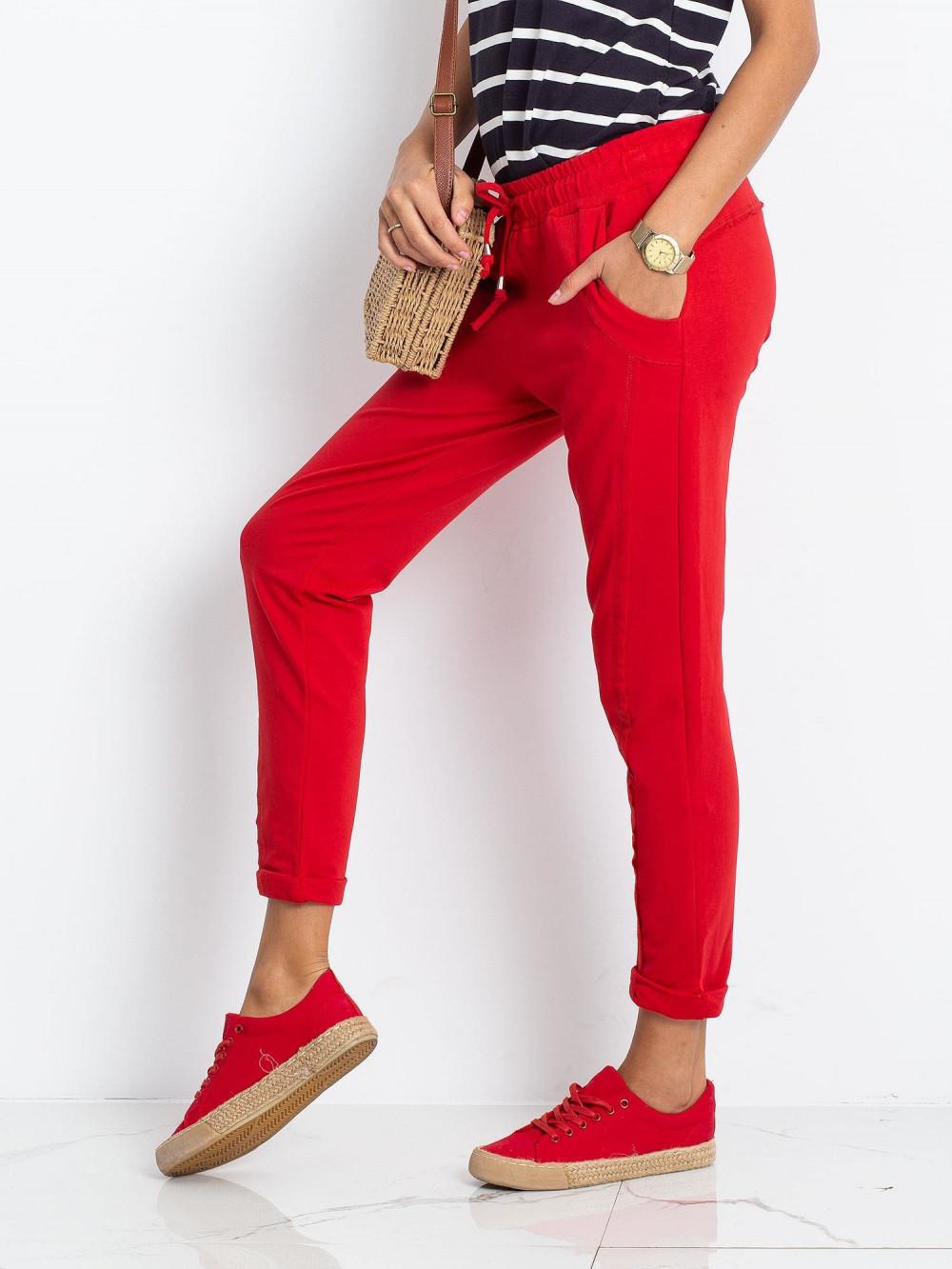 Czerwone spodnie dresowe z kieszeniami Viole 3