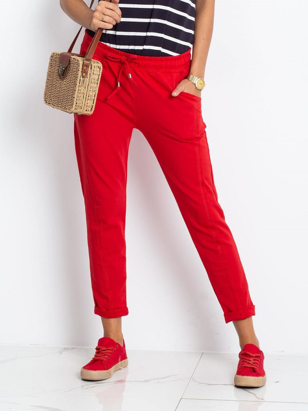 Czerwone spodnie dresowe z kieszeniami Viole 2