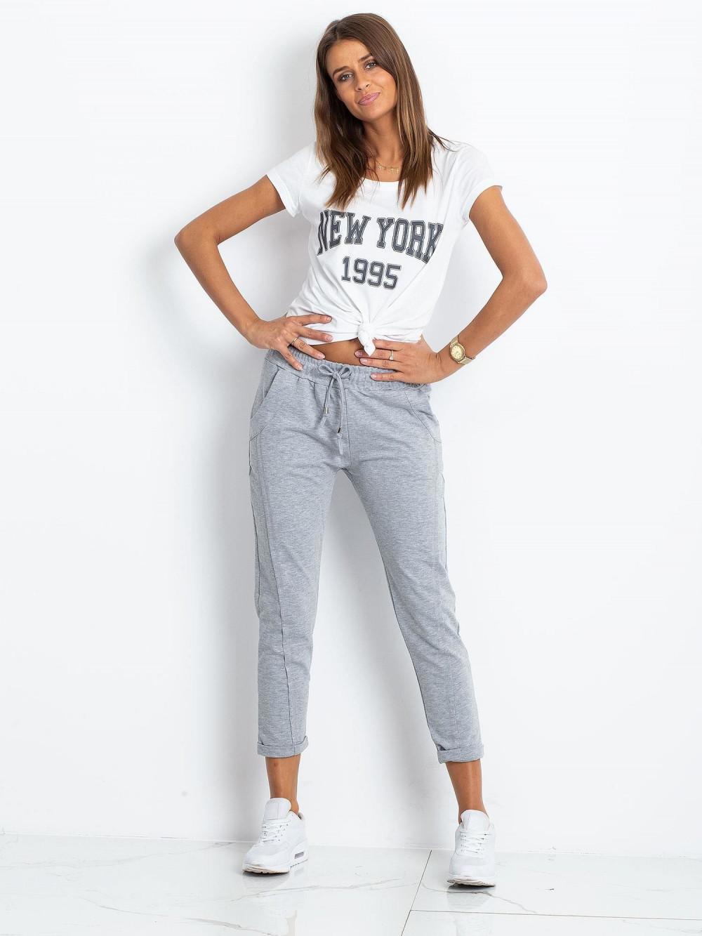 Jasnoszare spodnie dresowe z kieszeniami Viole 1