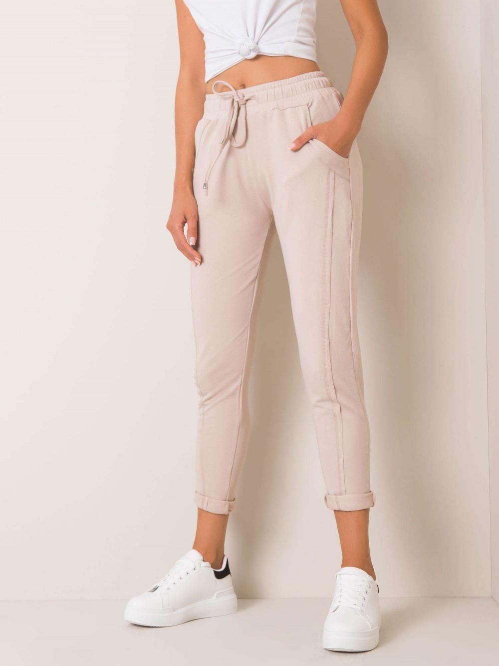 Beżowe spodnie dresowe z kieszeniami Viole 2