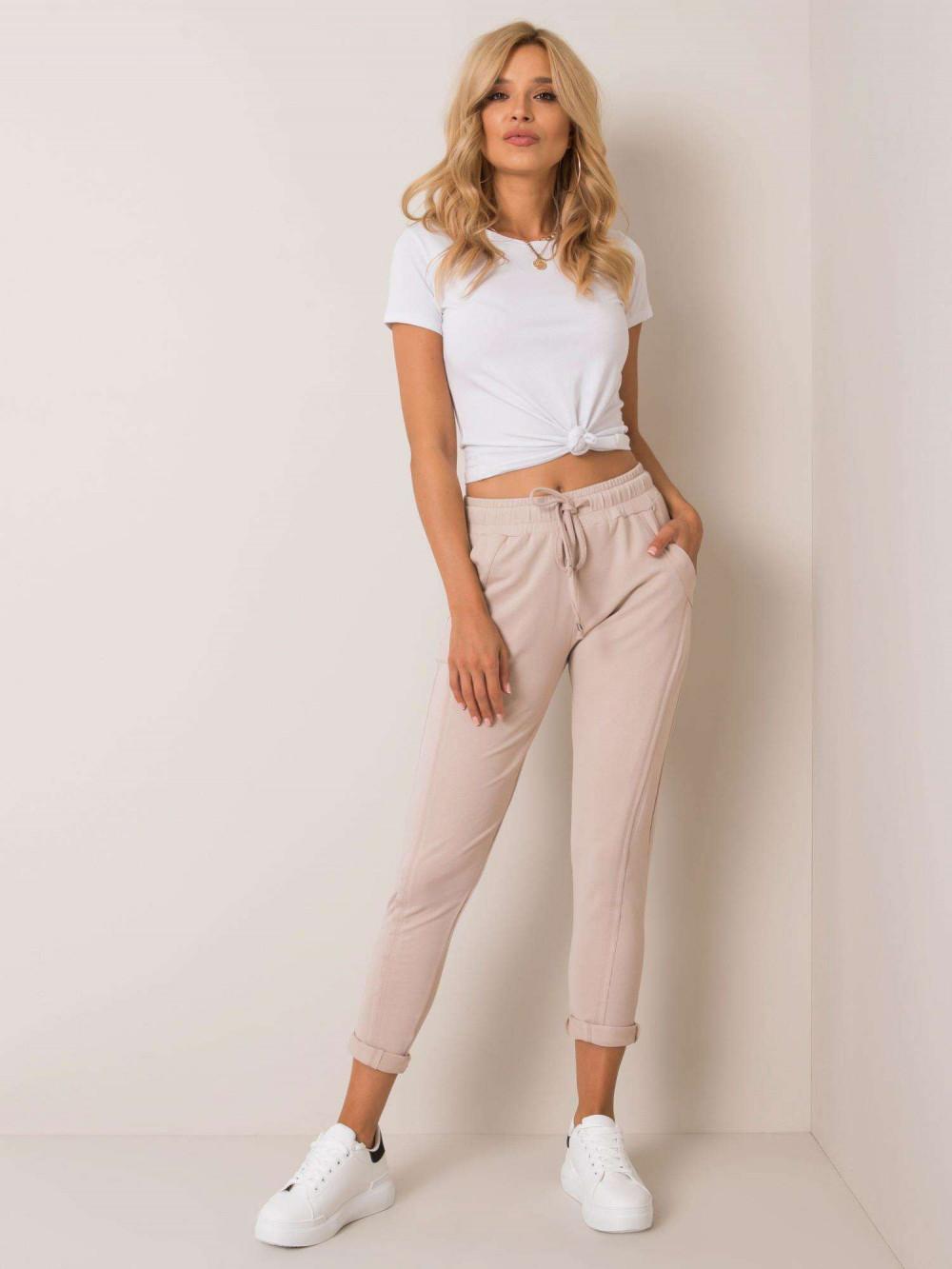 Beżowe spodnie dresowe z kieszeniami Viole 1
