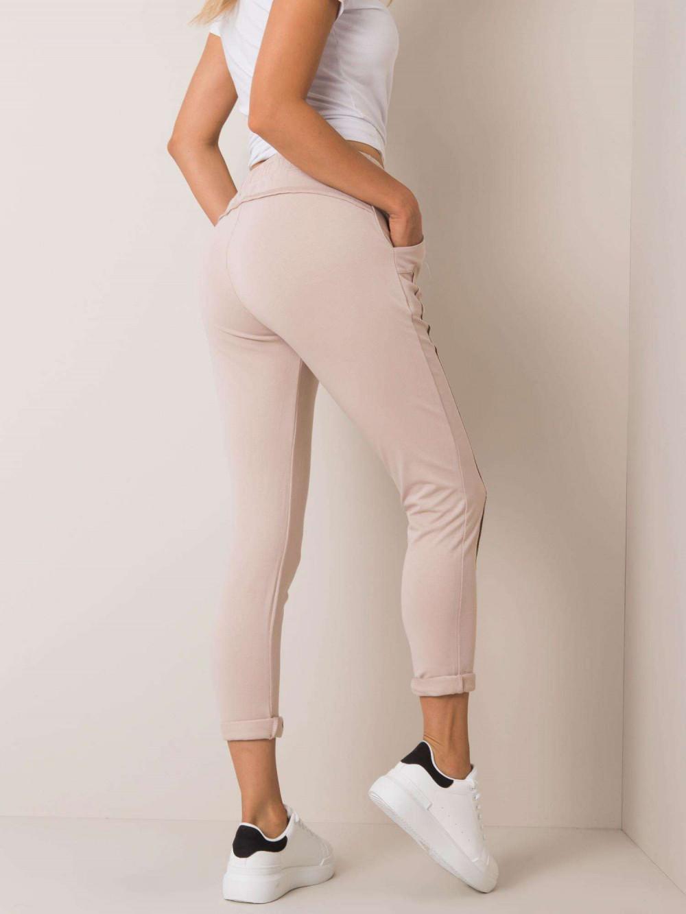 Beżowe spodnie dresowe z kieszeniami Viole 3