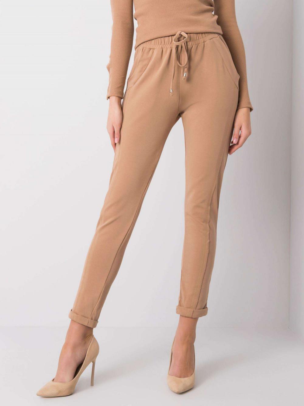 Karmelowe spodnie dresowe z kieszeniami Viole 2