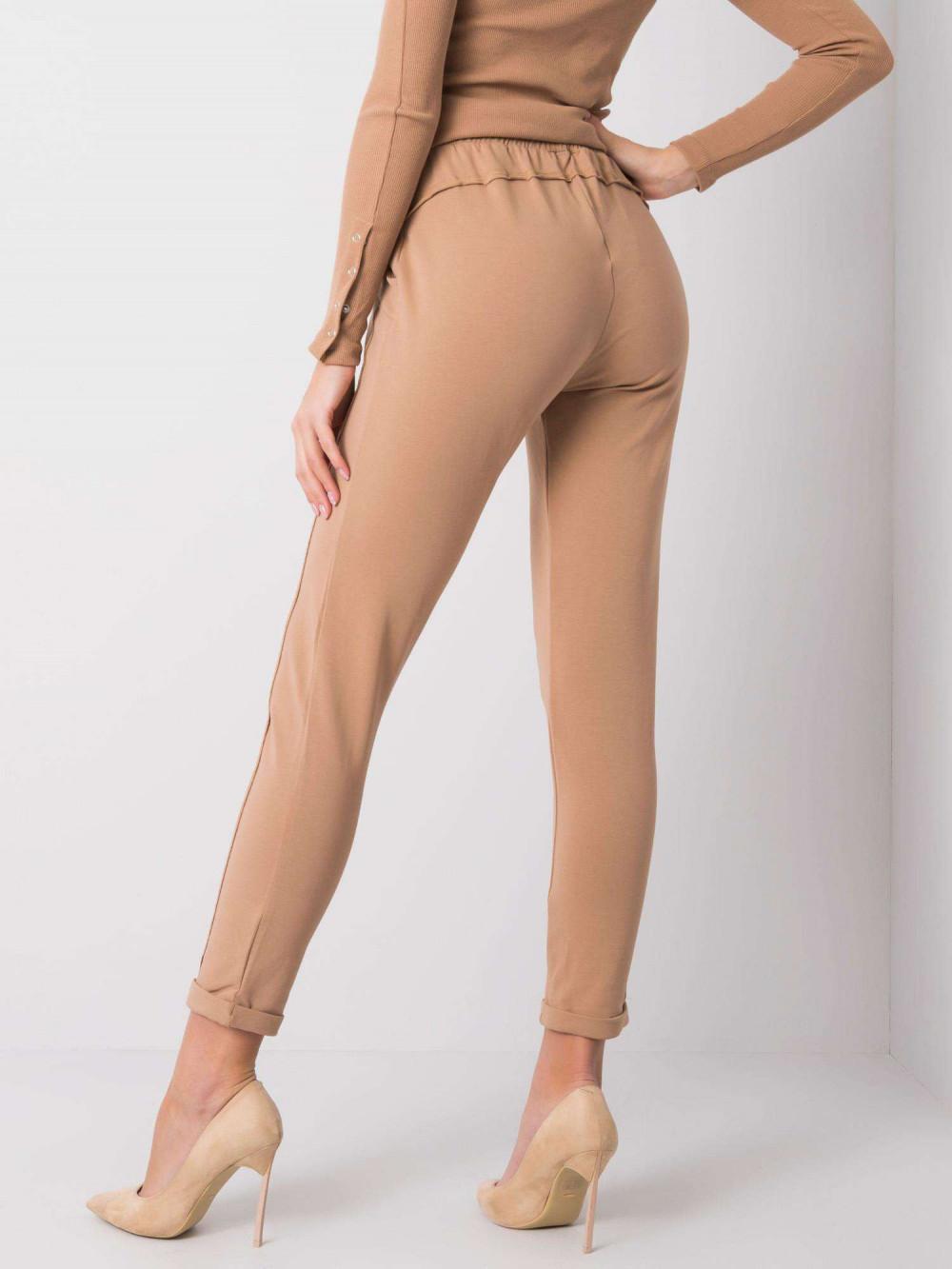 Karmelowe spodnie dresowe z kieszeniami Viole 4