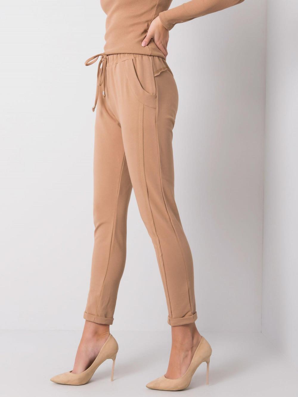Karmelowe spodnie dresowe z kieszeniami Viole 3