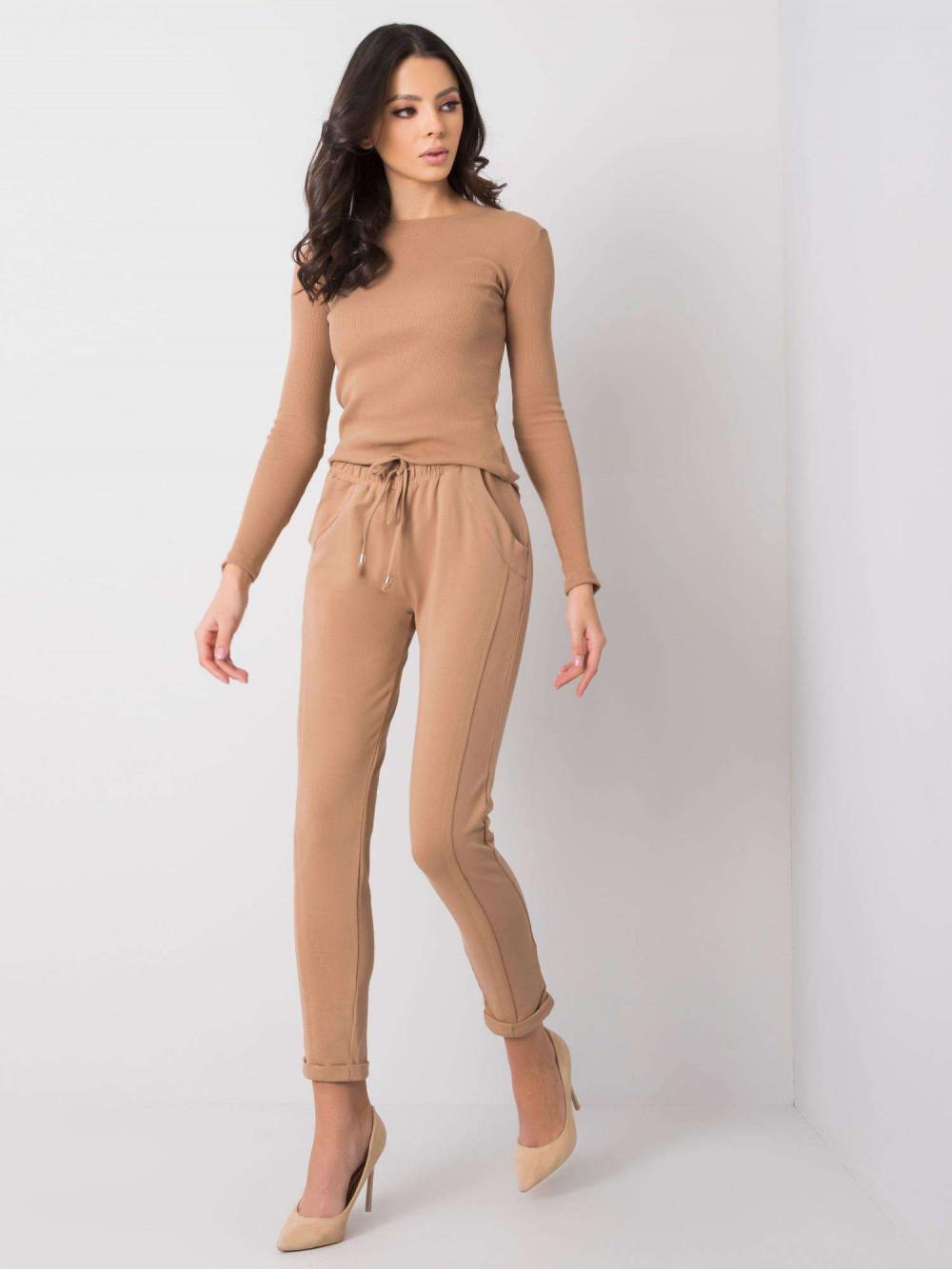 Karmelowe spodnie dresowe z kieszeniami Viole 1