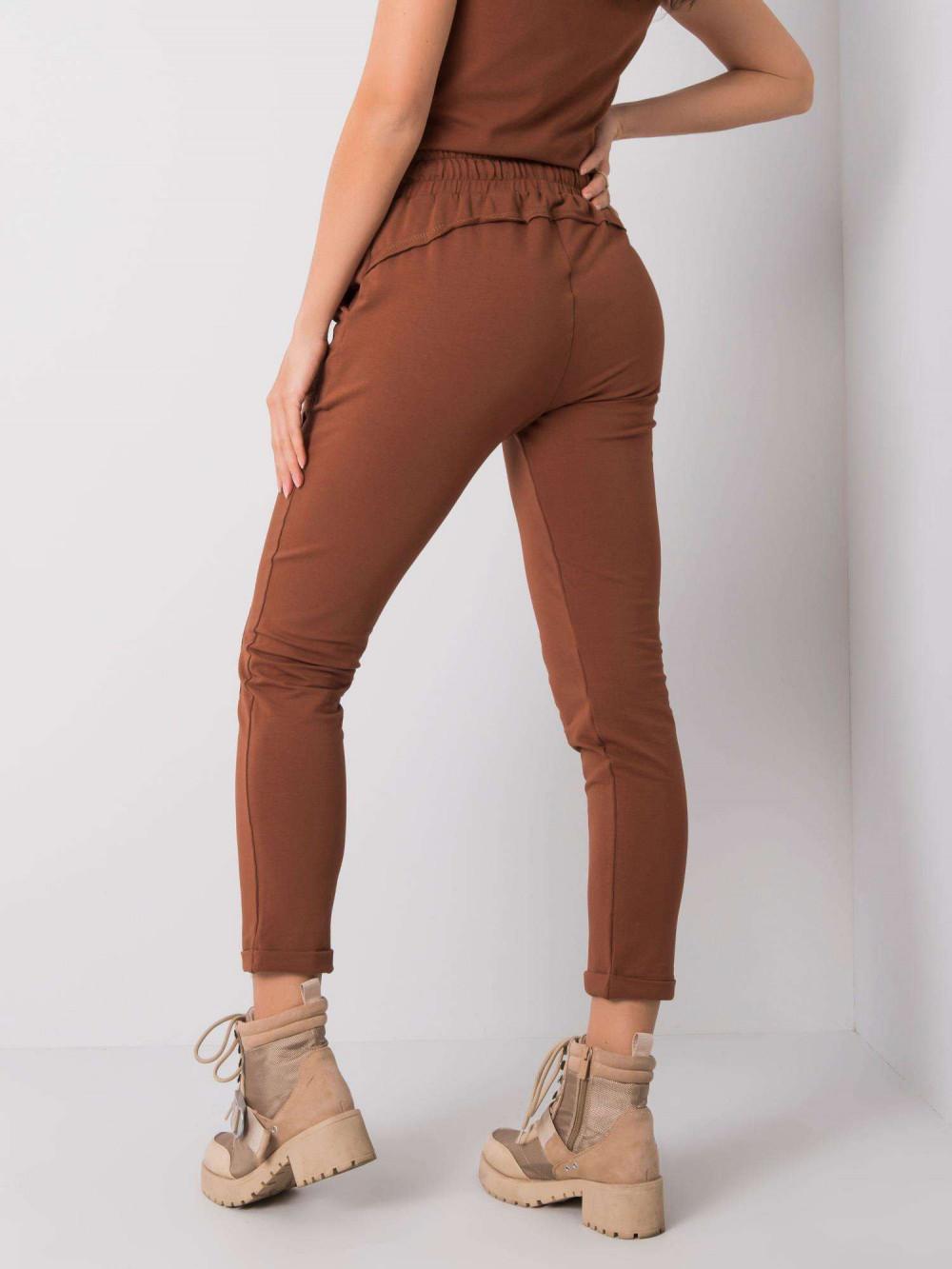 Brązowe spodnie dresowe z kieszeniami Viole 4