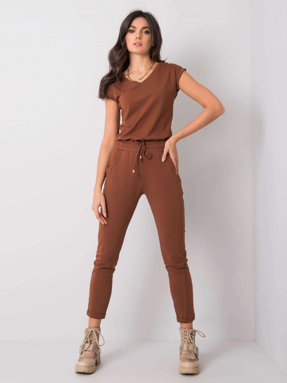 Brązowe spodnie dresowe z kieszeniami Viole 1