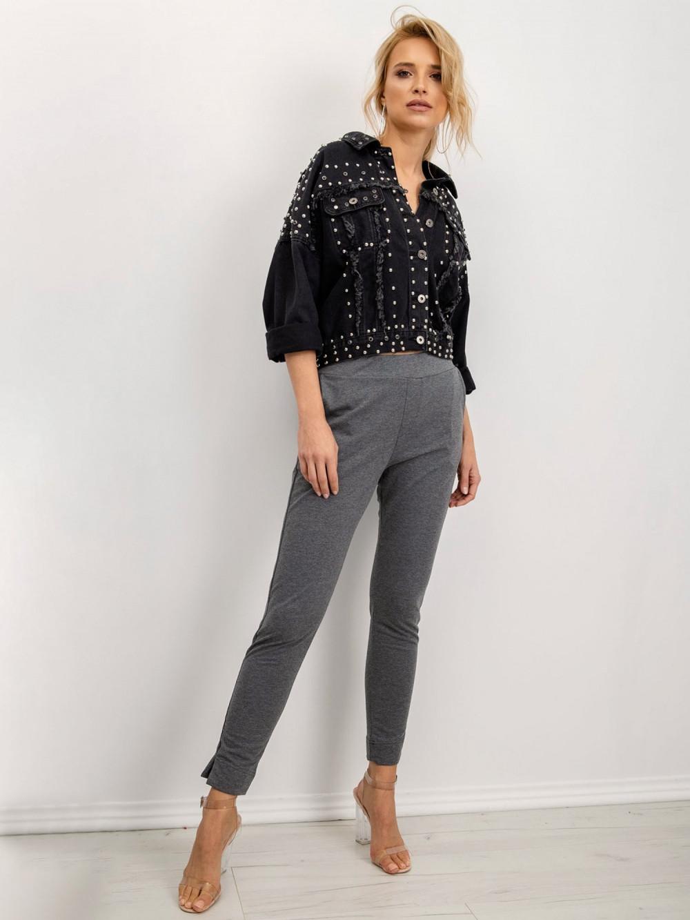 Ciemnoszare dresowe spodnie slim fit Clara 1