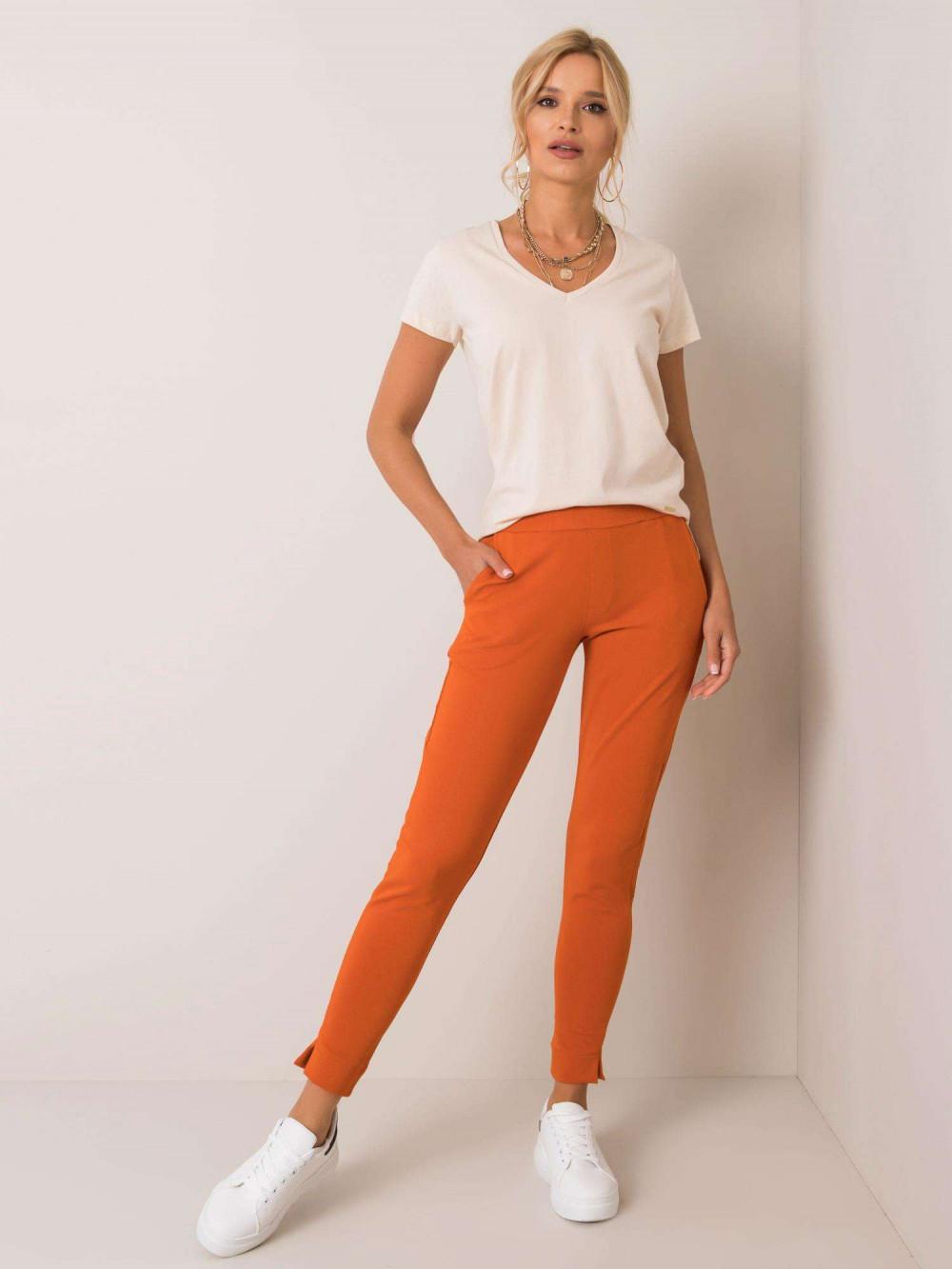 Pomarańczowe dresowe spodnie slim fit Clara 1