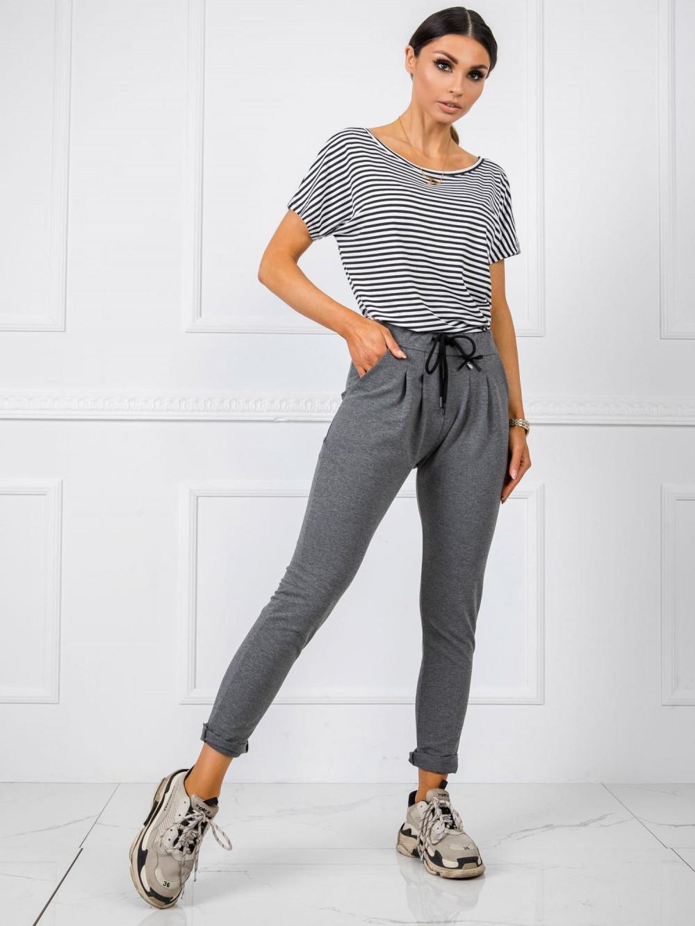 Ciemnoszare dresowe spodnie z kieszeniami Davo 1