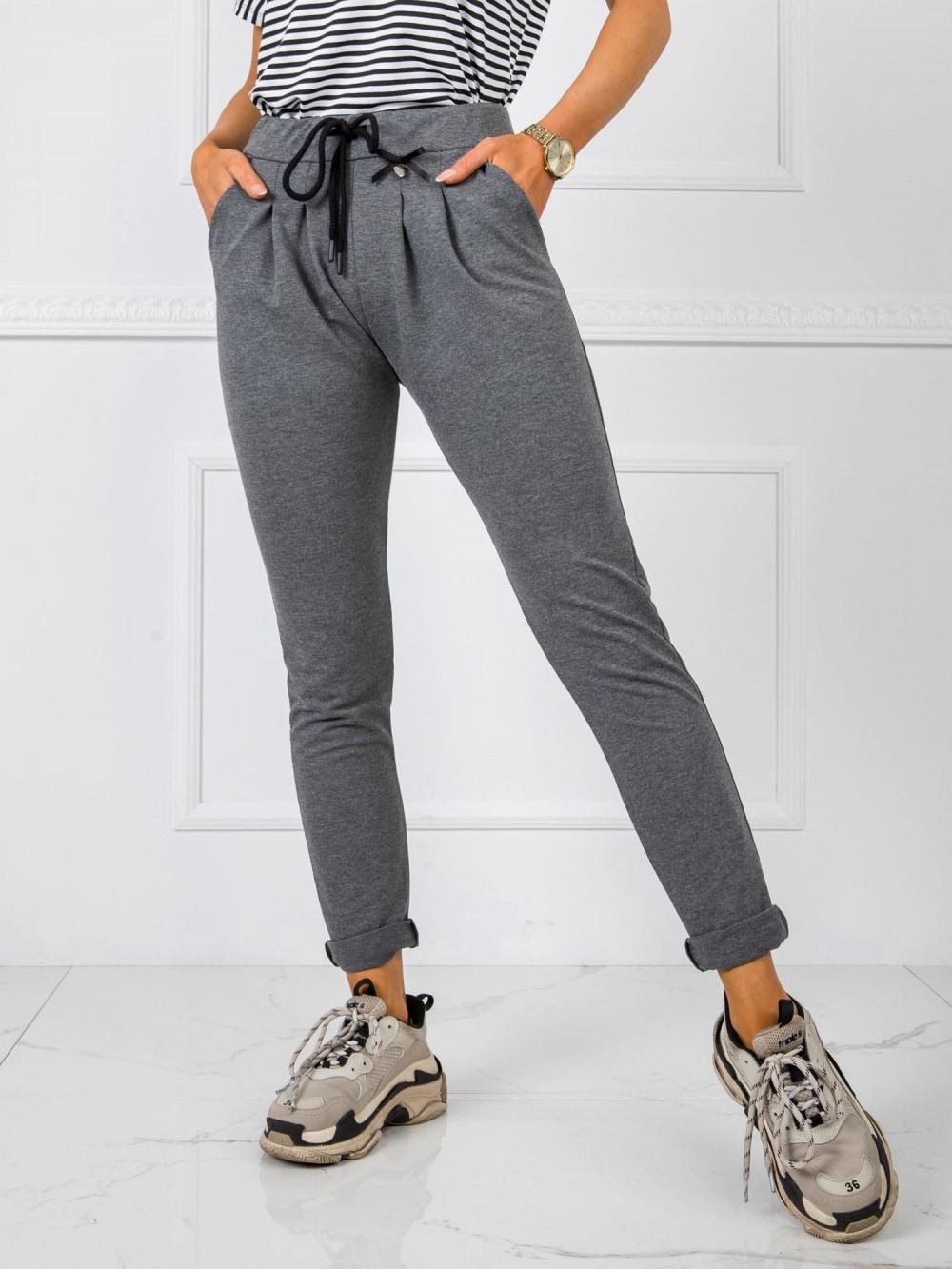 Ciemnoszare dresowe spodnie z kieszeniami Davo 2