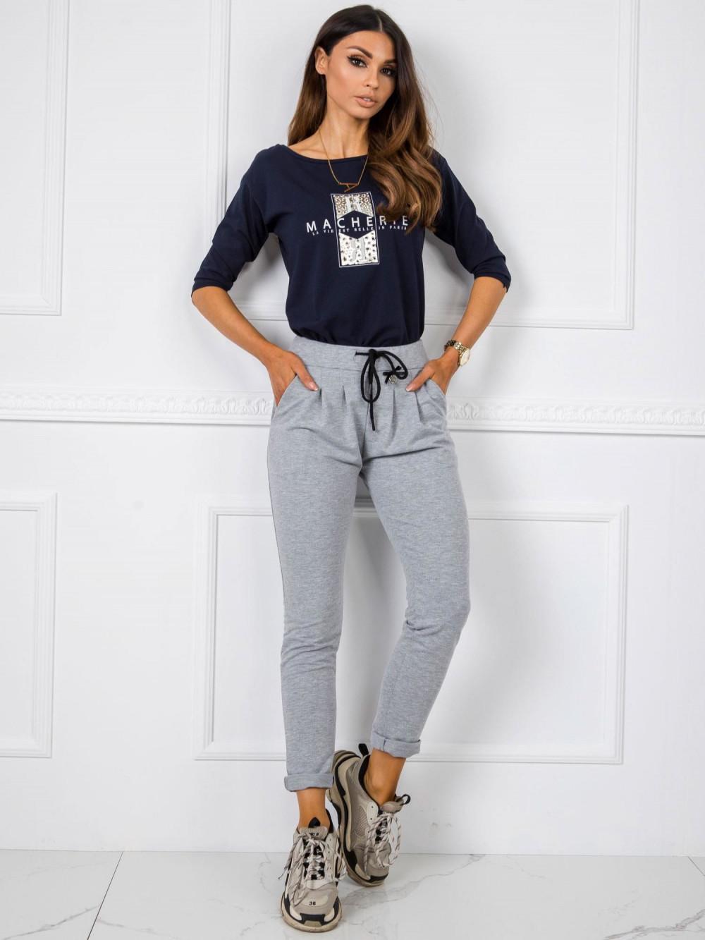 Szare dresowe spodnie z kieszeniami Davo 1
