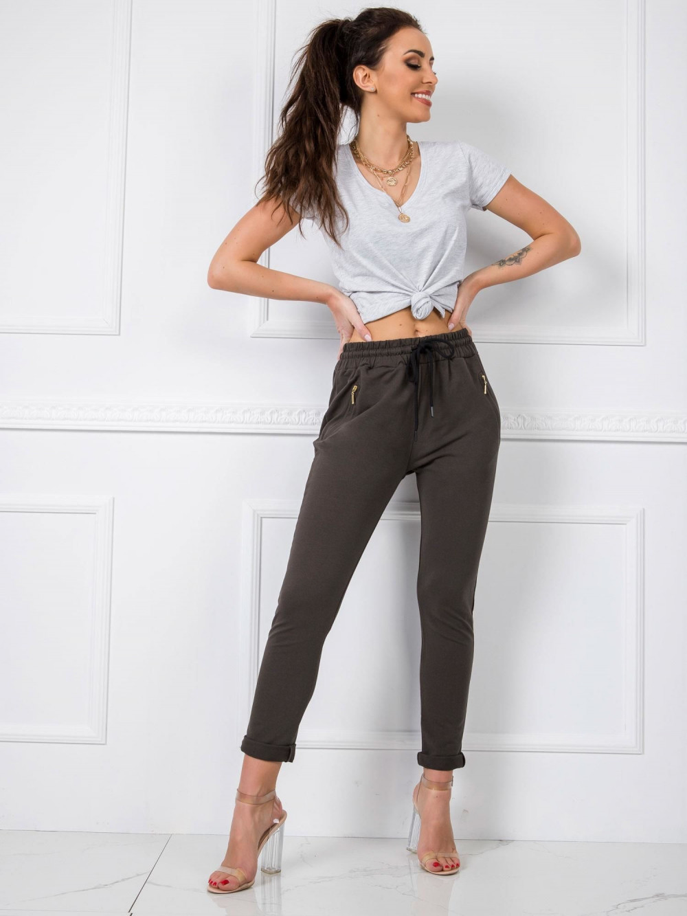 Khaki spodnie dresowe z wysokim stanem Primes 1