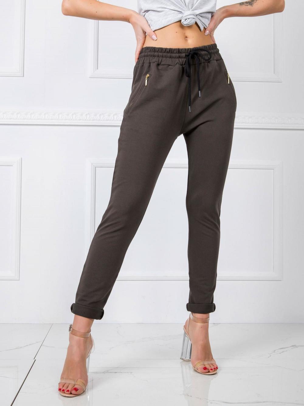 Khaki spodnie dresowe z wysokim stanem Primes 2