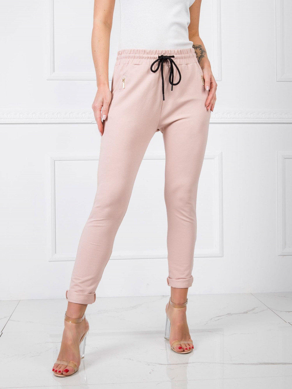 Różowe spodnie dresowe z wysokim stanem Primes 2