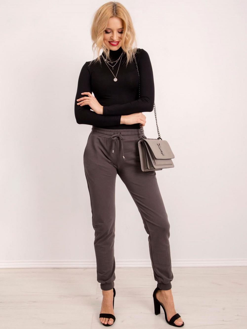 Khaki spodnie dresowe ze ściągaczami Lilo 1