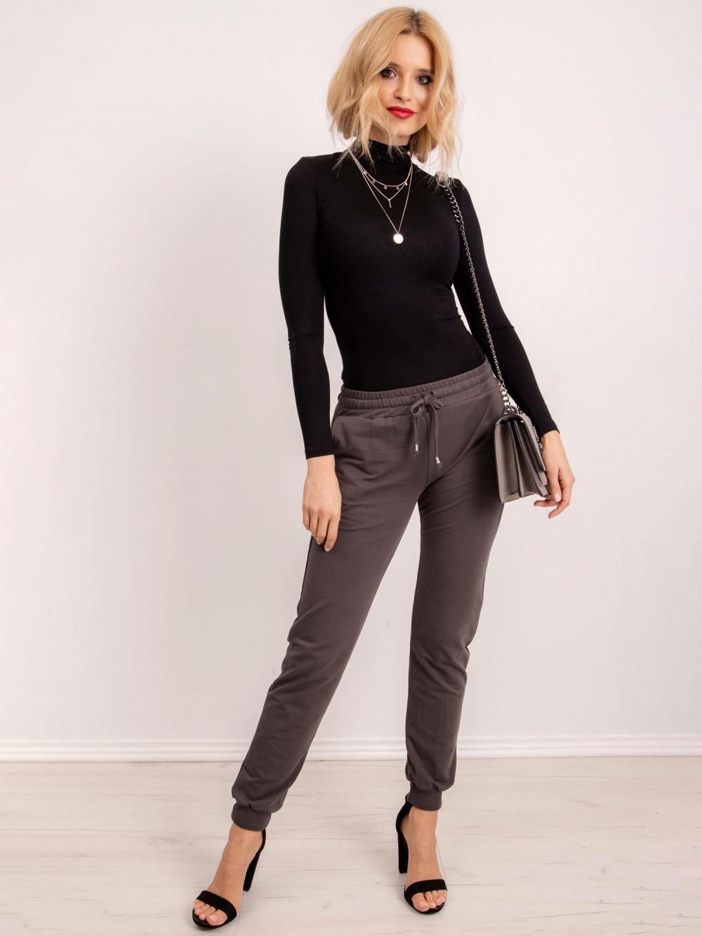 Khaki spodnie dresowe ze ściągaczami Lilo 2