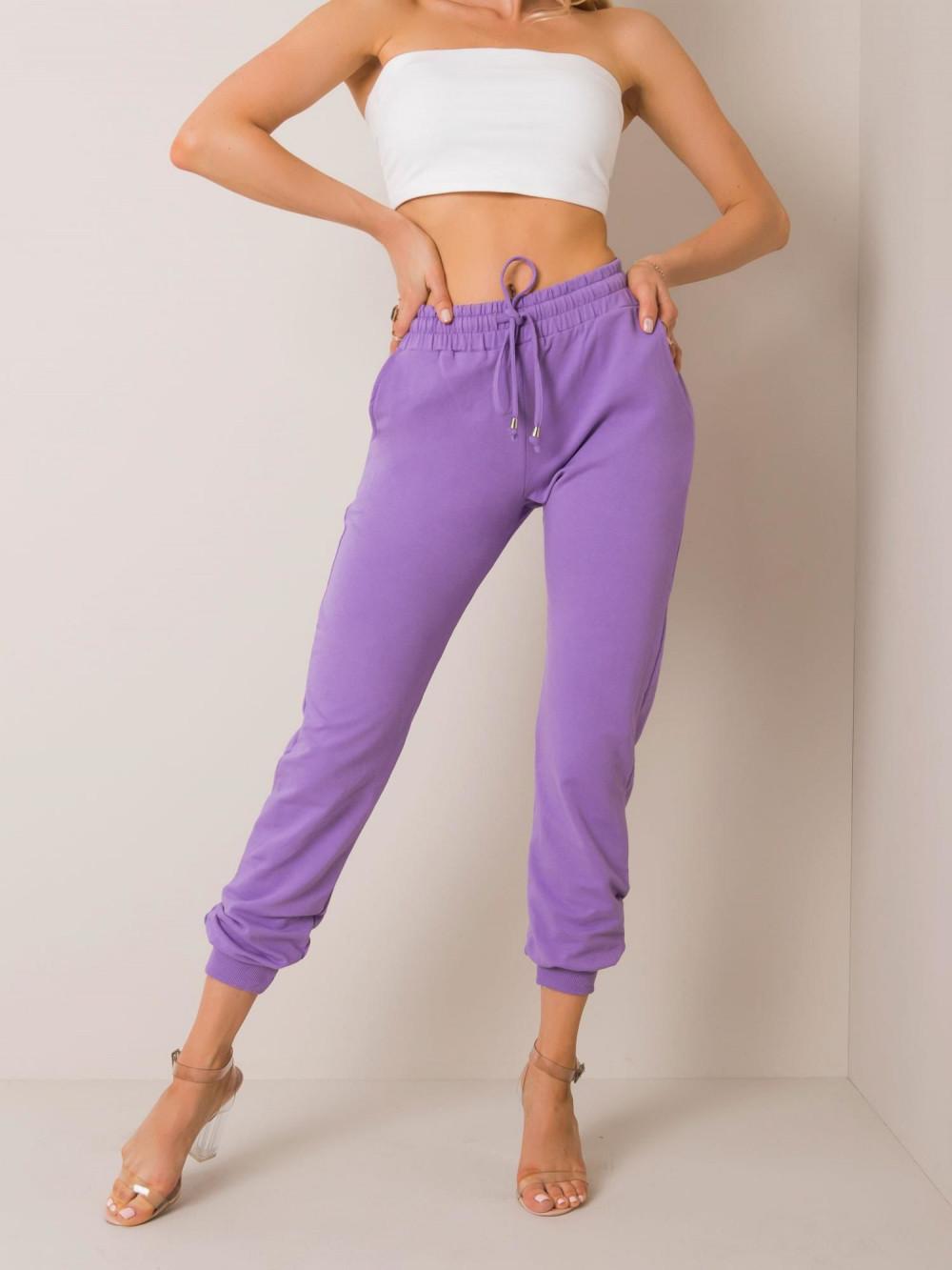 Fioletowe spodnie dresowe ze ściągaczami Lilo 2