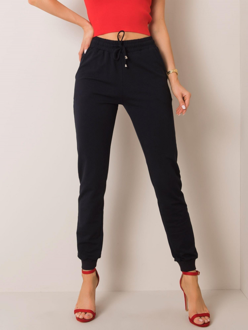 Ciemnogranatowe spodnie dresowe ze ściągaczami Lilo 2