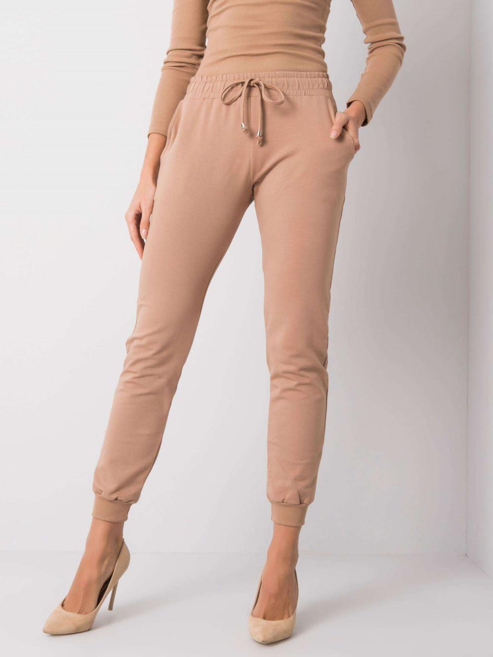 Karmelowe spodnie dresowe ze ściągaczami Lilo 2