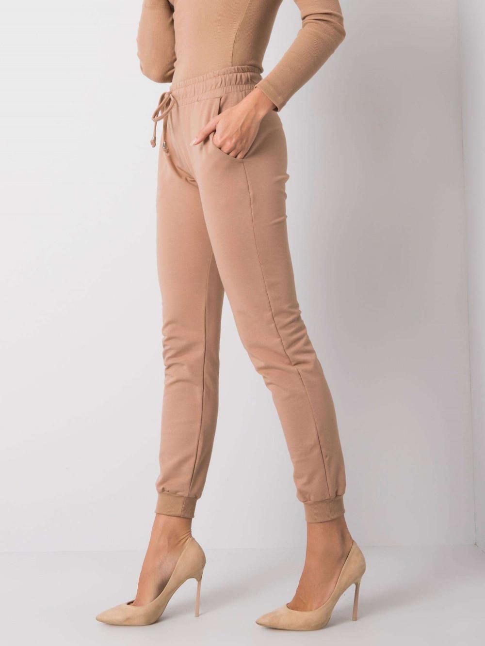 Karmelowe spodnie dresowe ze ściągaczami Lilo 3