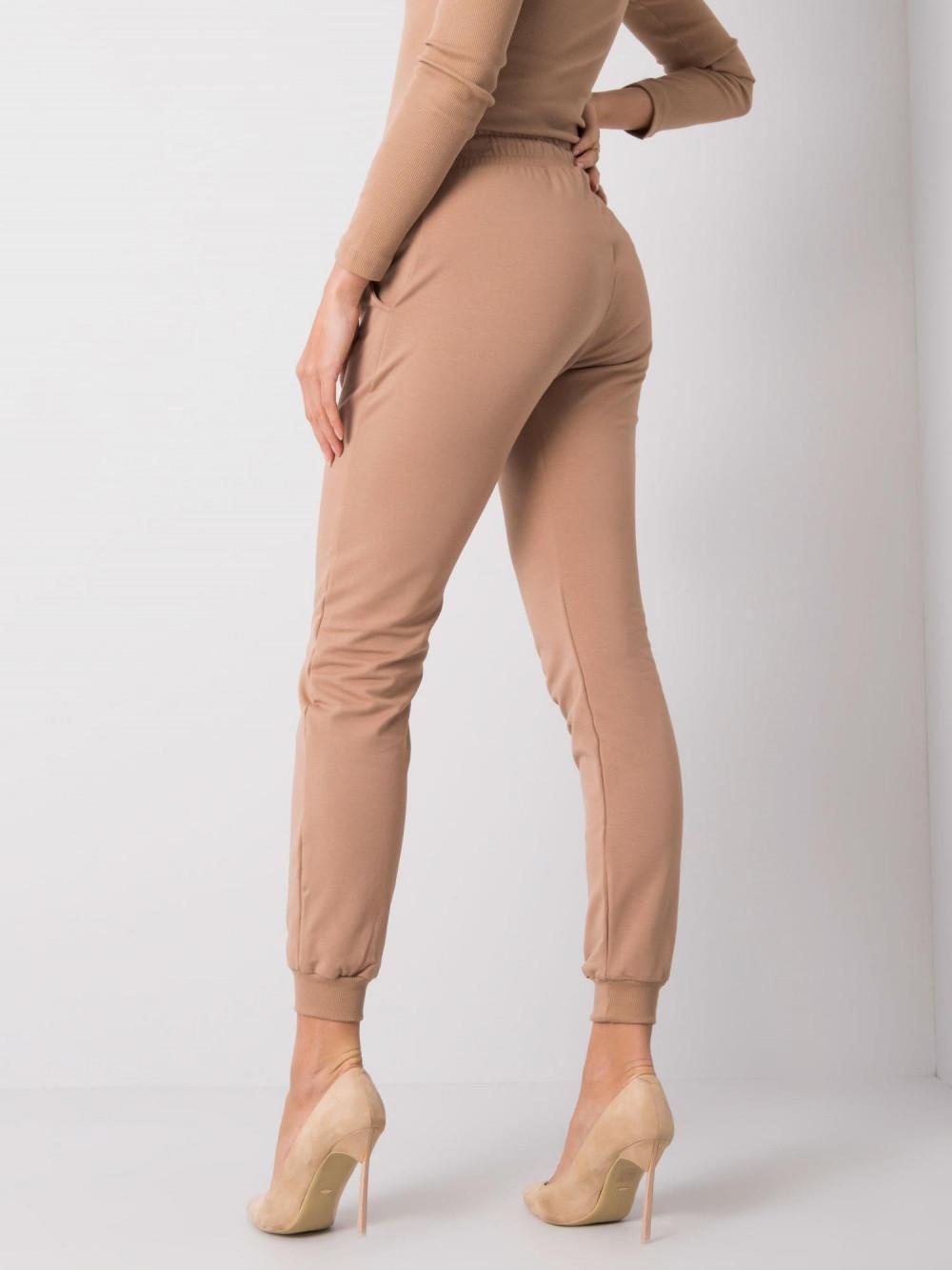Karmelowe spodnie dresowe ze ściągaczami Lilo 4