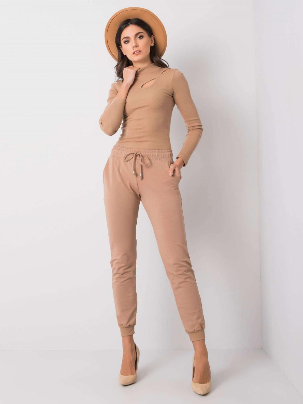 Karmelowe spodnie dresowe ze ściągaczami Lilo 1