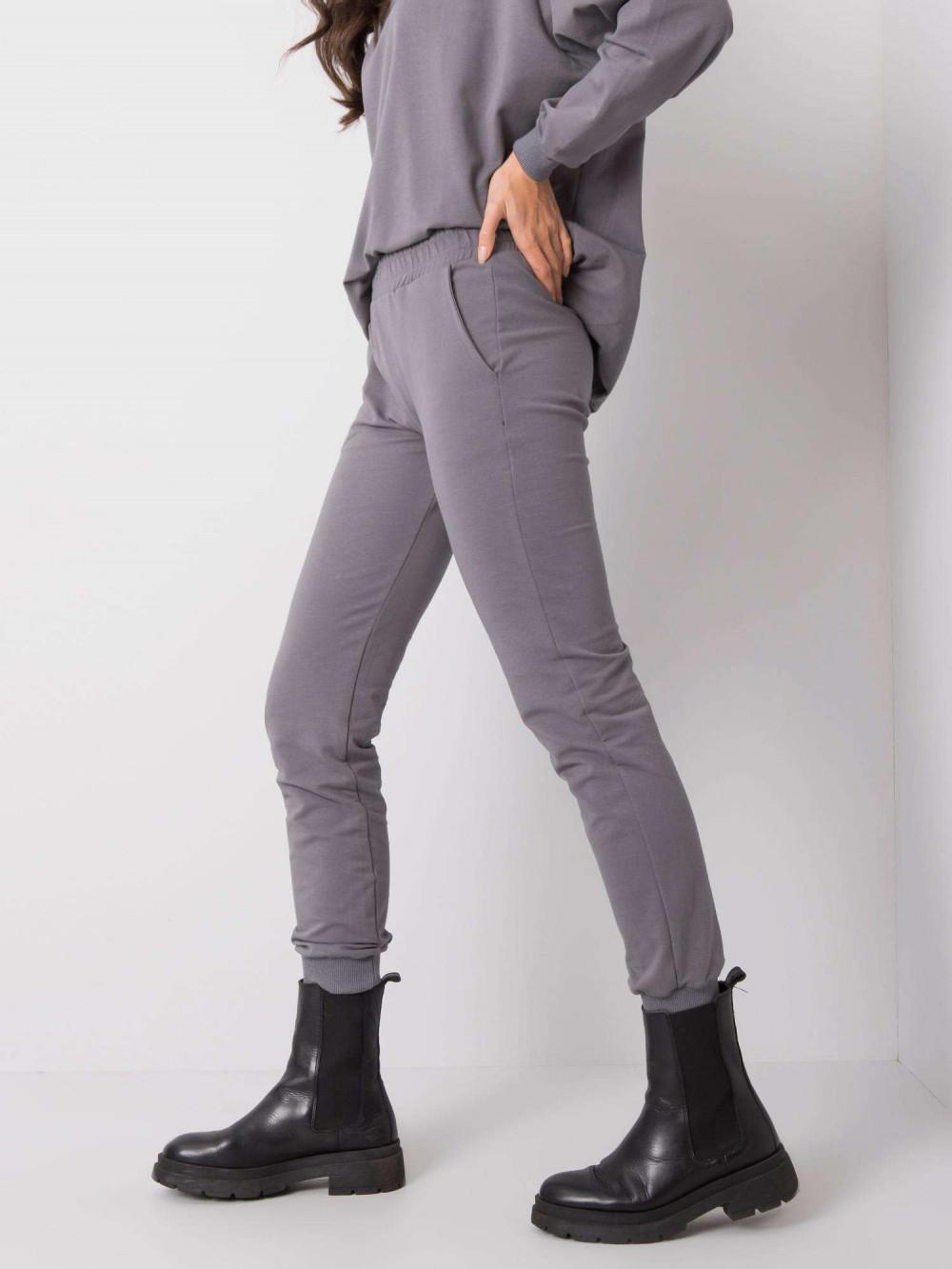 Ciemnoszare spodnie dresowe ze ściągaczami Lilo 3