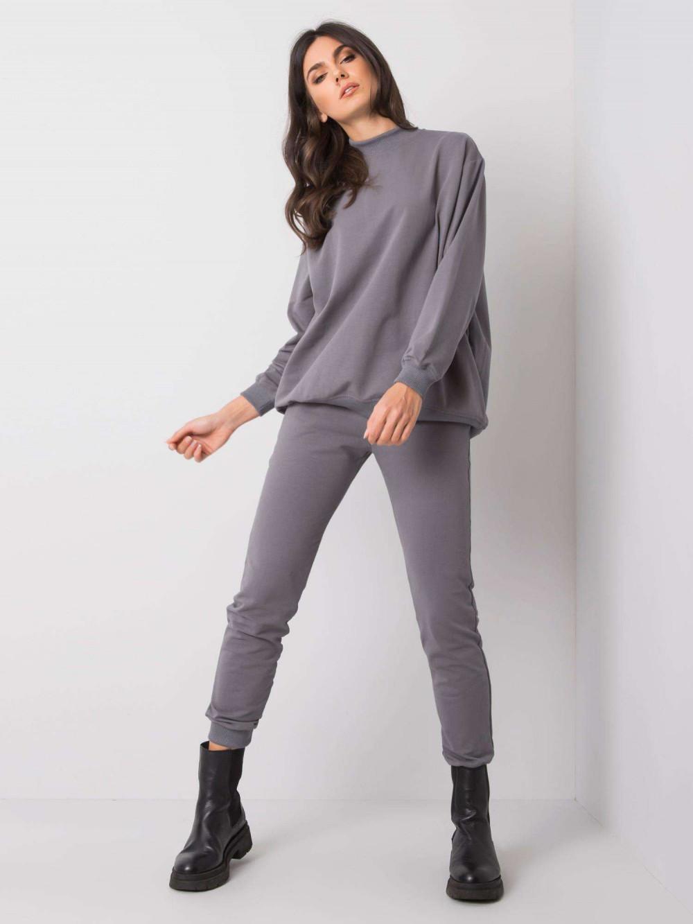Ciemnoszare spodnie dresowe ze ściągaczami Lilo 1