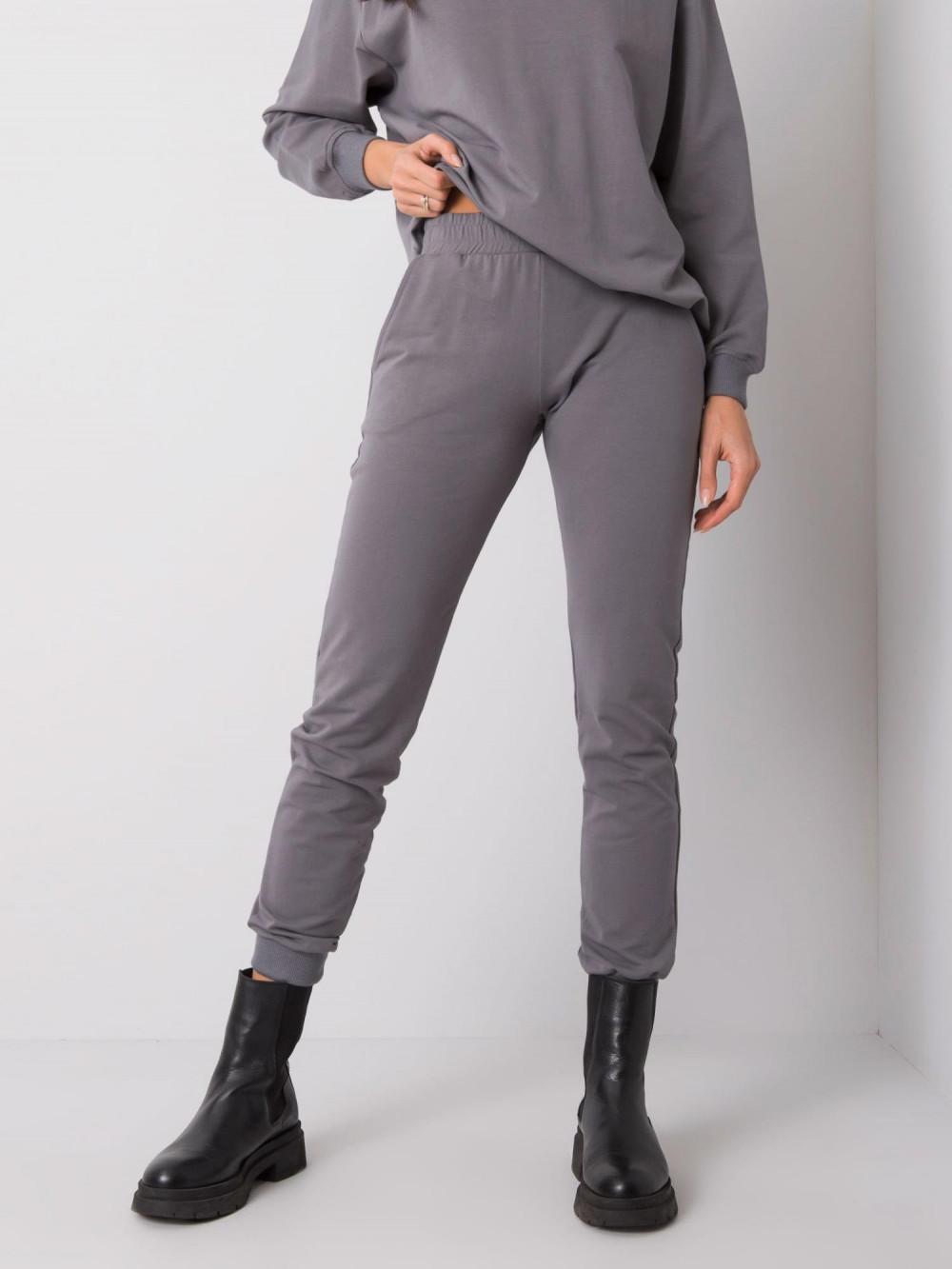 Ciemnoszare spodnie dresowe ze ściągaczami Lilo 2