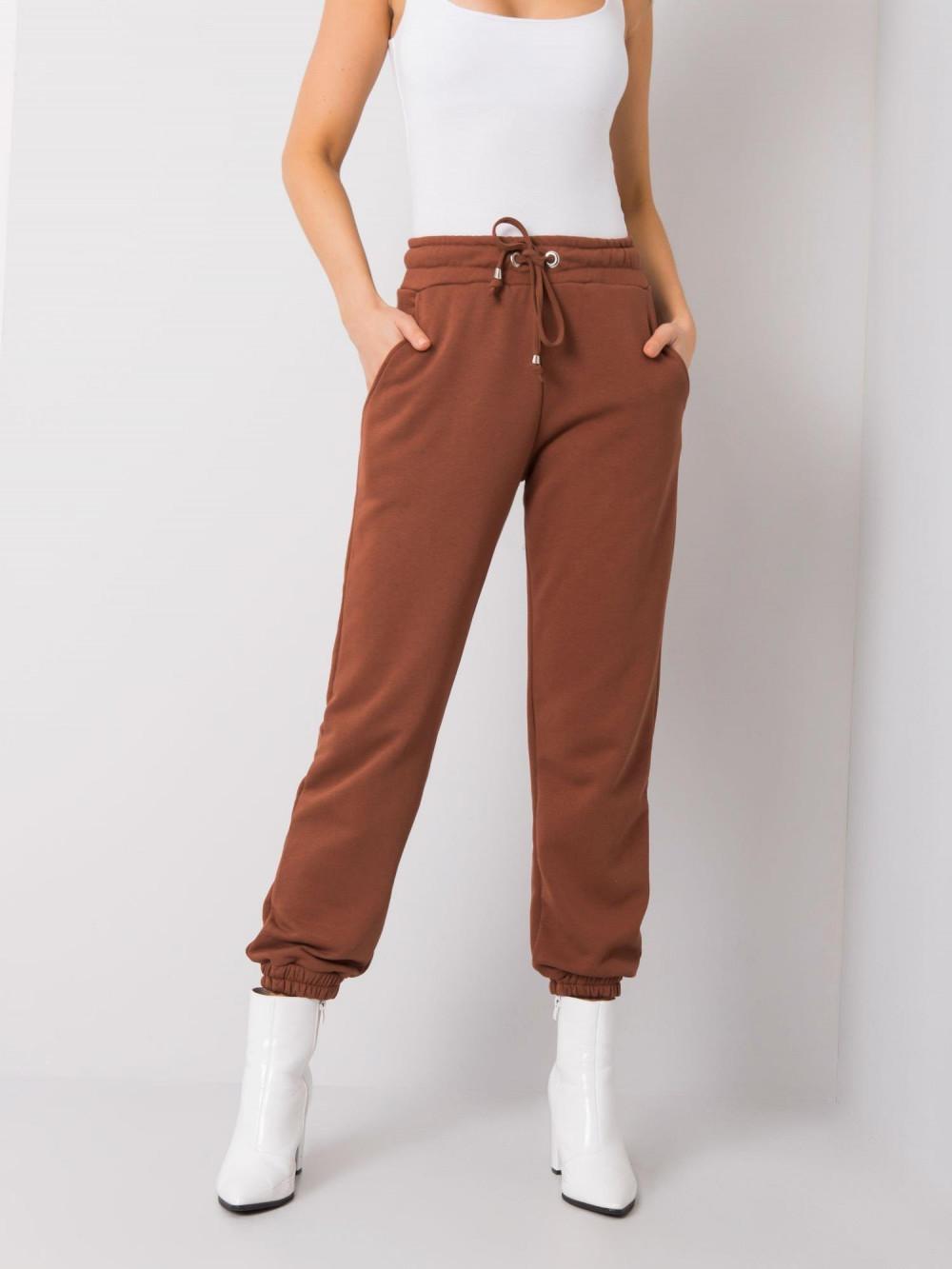 Brązowe spodnie dresowe ze ściągaczami Asma 2